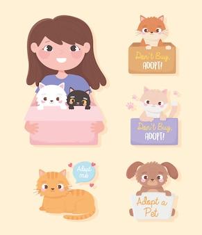 Принять питомца, девочку с кошками в коробке и зверюшек с надписью иллюстрации