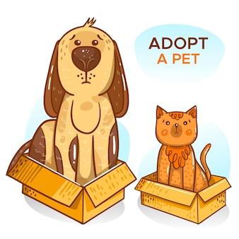 Примите иллюстрацию домашнего животного с собакой и кошкой