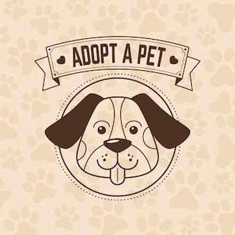 Примите иллюстрацию домашнего животного с собакой