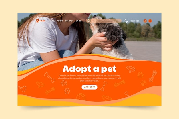 ペットのランディングページテンプレートを採用する 無料ベクター
