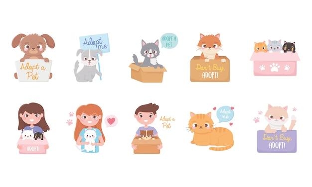 고양이와 개 만화 일러스트와 함께 사람들의 집합 애완 동물을 채택