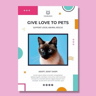 애완 동물 수직 포스터 템플릿 채택