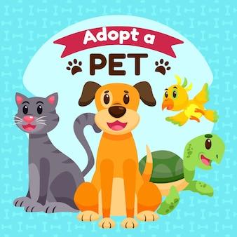 거북이와 개가있는 애완 동물을 입양하십시오.