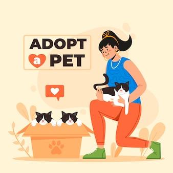 여자와 고양이와 함께 애완 동물을 입양하십시오