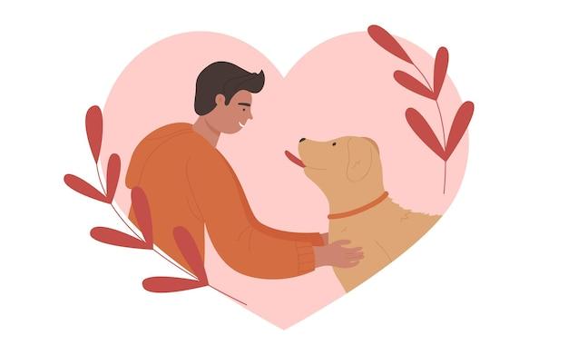 Принять собаку, счастливый человек и собачий друг, владелец домашнего питомца и забавный щенок внутри розового сердца