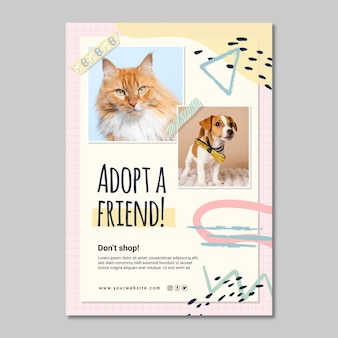 Adopt a new friend poster template