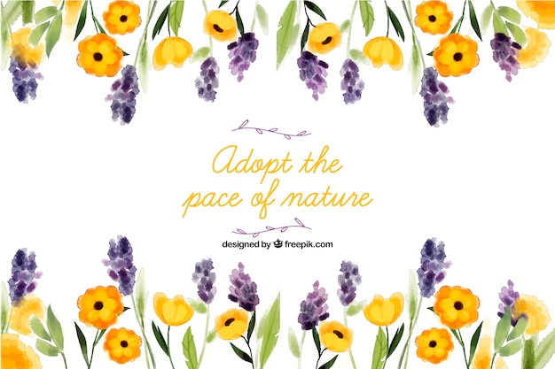 Adopt the pace of nature. lettering quote with floral theme and flowers