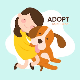 Adopt a pet concept message with illustration