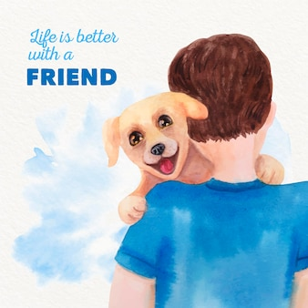 Adopt a pet concept watercolor