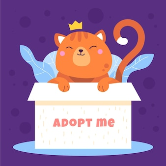 Adopt a pet concept with cat in box illustration