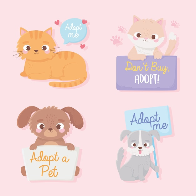 Adopt a pet, cute little dogs and cats animals with board lettering  illustration