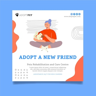 Adopt a pet flyer square template