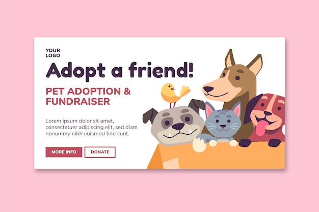 Adopt a pet from shelter banner template