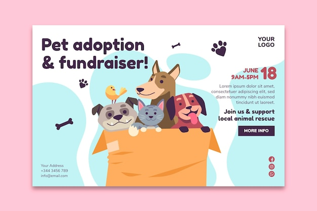 Adopt a pet from shelter landing page web template