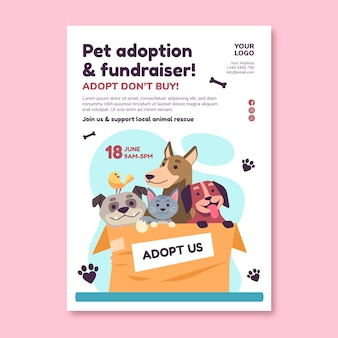 Adopt a pet from shelter poster print template