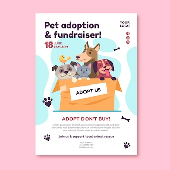 Adopt a pet from shelter poster template