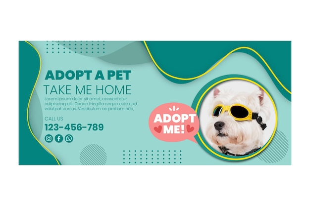 Adopt a pet horizontal banner template