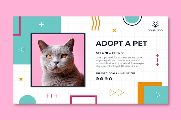 Adopt a pet horizontal banner template