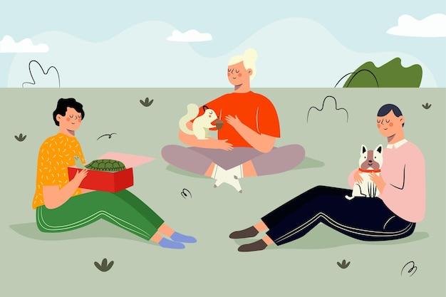 Adotta un concetto di illustrazione dell'animale domestico Vettore gratuito