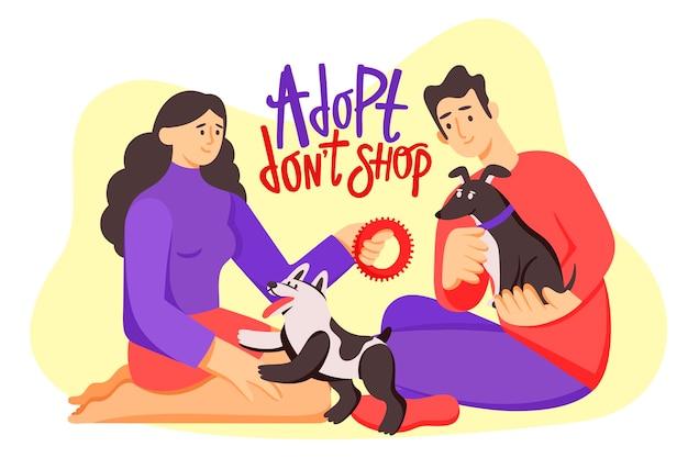 Adotta un'illustrazione dell'animale domestico con i cani