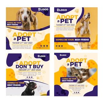 Adotta una raccolta di post su instagram per animali domestici Vettore gratuito