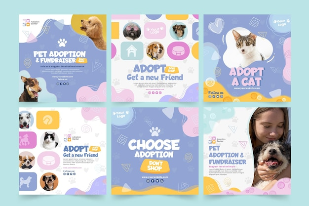 Adopt a pet instagram posts template
