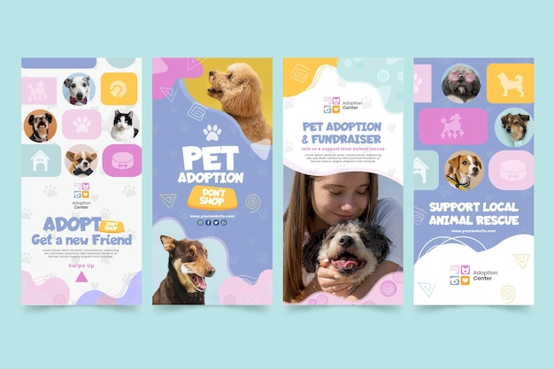 Adopt a pet instagram stories template