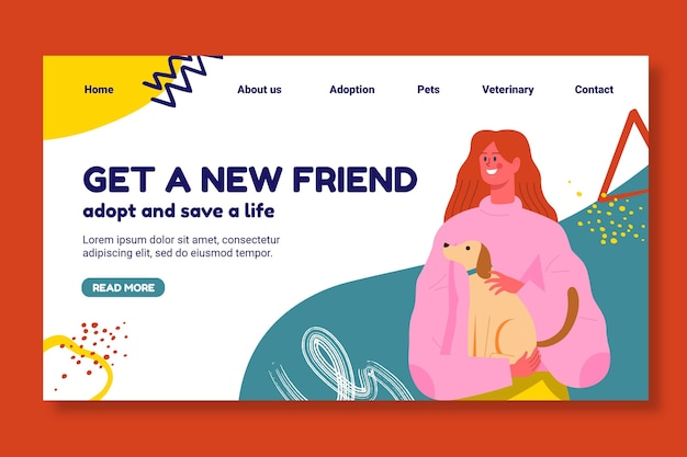 Adopt a pet landing page template