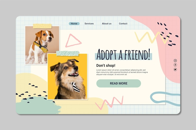 Adopt a pet landing page