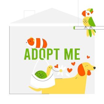 Adotta un messaggio per animali domestici con simpatici animali