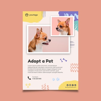 Adopt a pet poster with cute dog photo