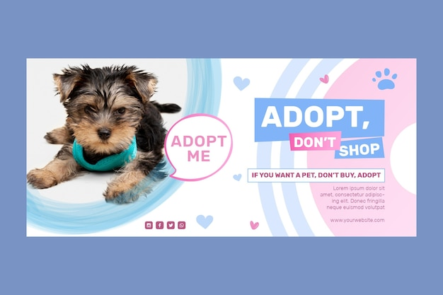 Adopt a pet do not shop banner template