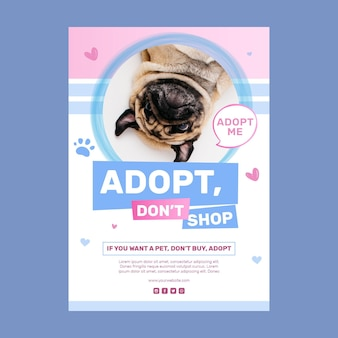 Adopt a pet do not shop poster template