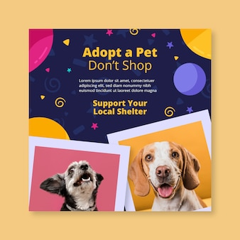 Adopt a pet square flyer template