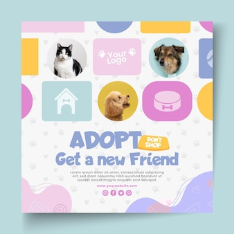 Adopt a pet squared flyer template