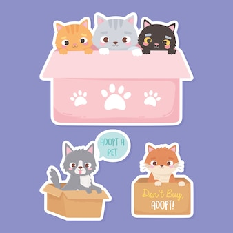 Adopt a pet, stickers of cats and dogs in the cardboard boxes  illustration