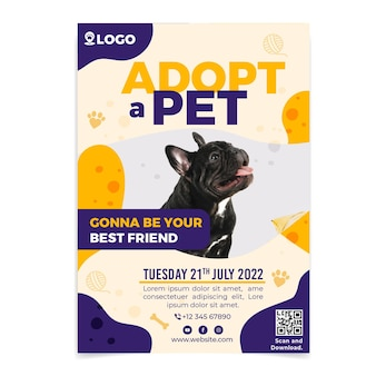 Adopt a pet vertical poster template