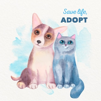 Adopt a pet watercolor illustration