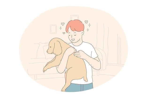 避難所から養子縁組された犬、ボランティア、ペットのコンセプトの支援。若い幸せな少年の漫画のキャラクター