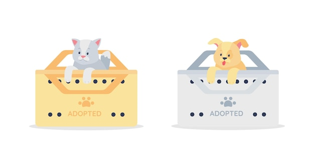 Adopted grey cat and golden dog flat detailed character set. rescue homeless puppy and kitten.