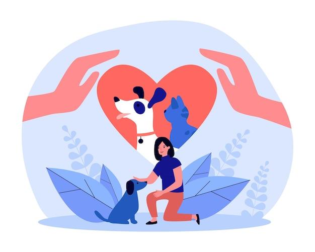 人間の心臓に採用されたペット。犬を愛する女性、ホームレスの子犬フラットベクトルイラストを採用しています。養子縁組、動物への愛情、バナー、ウェブサイトのデザイン、ランディングウェブページのチャリティーケアのコンセプト