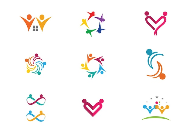 Усыновление и общинный уход логотип шаблон вектор значок