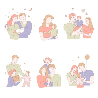 Adoption of orphan or child in family, pastel color isolated icons