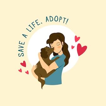 Adorabile adotta un'illustrazione del cane