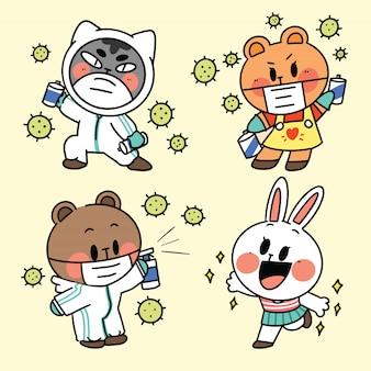 코로나 캠페인 그림에서 사랑스럽고 사랑스러운 동물 새끼 고양이 새끼 고양이 곰 토끼 안전