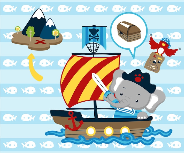 Adorable animals cartoon on sailboat