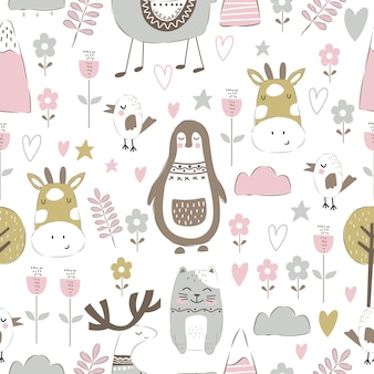 Adorable animals doodle in seamless pattern