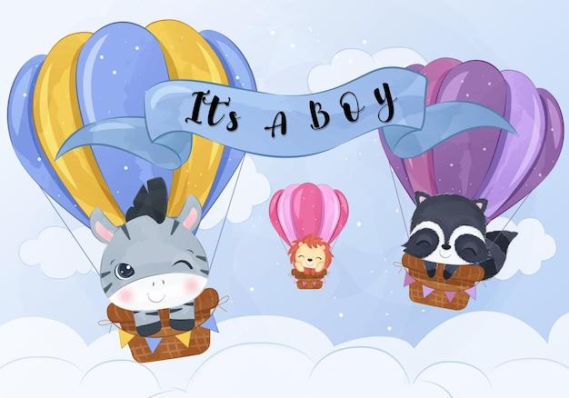 水彩イラストで気球で飛んでいる愛らしい動物