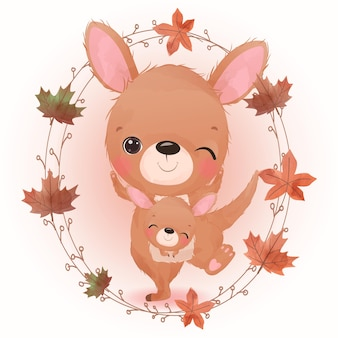 Adorable animals illustration for autumn season decoration