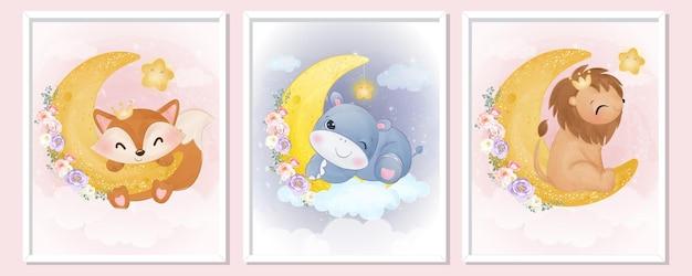 水彩で設定された愛らしい動物のイラスト